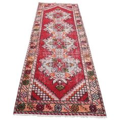 """Bohemian Faded Vİntage Turkish Runner Handmade Rug - 35"""" x 109"""" ($950) ❤ liked on Polyvore featuring home, rugs, contemporary handmade rugs, hand woven wool rugs, wool rugs, hand crafted rugs, turkish wool rugs and wool runners"""