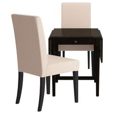 INGATORP/HENRIKSDAL Table and 2 chairs - Linneryd natural, brown-black - IKEA