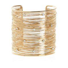 Gold tone multi wire encrusted cuff bracelet - bracelets - jewellery - women