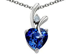 Original Star K(tm) Heart Shaped 8mm Created Sapphire Pendant in .925 Sterling Silver: Star K