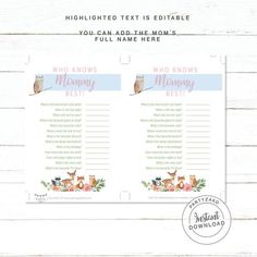Woodland Who knows mommy best / Who knows mummy best woodland baby Shower games / Forest Baby Shower Fun Baby Shower Games, Bridal Shower Favors, Forest Baby Showers, Who Knows Mommy Best, Game Item, Letter Size Paper, Woodland Baby, How To Know, A4 Size