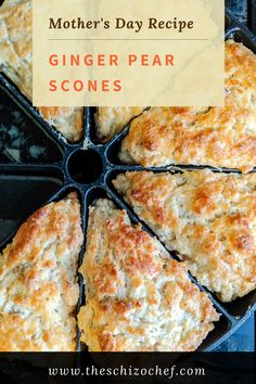 Ginger Pear Scones - These scones are perfect to celebrate Mother's Day or for High Tea. Moist and rich and filled with so much flavor! Best Breakfast Recipes, Brunch Recipes, Gourmet Recipes, Baking Recipes, Gourmet Foods, Vegetarian Recipes, Brunch Outfit, Donut Recipes, Scone Recipes