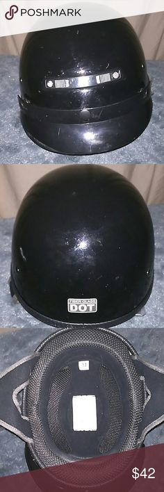 Vega motorcycle half helmet Vega motorcycle half helmet, detachable viser, air vents, adjustable strap. Does have a little wear on the outside but inside is like brand new. VEGA  Other