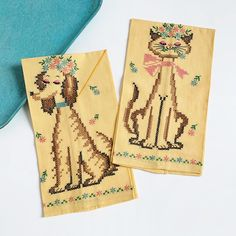 How fabulous are these?! Never used #1960s #crossstitch #teatowelset. 🐶💖🐱 Linen Towels, Dish Towels, 1960s Kitchen, Vintage Hawaiian Shirts, Etsy Shipping, Kitchen Towels, Vintage Children, Dog Cat, Sewing Patterns