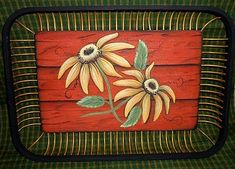Sunflower Bamboo Tray -- Add wood texture and sunflowers to a tray for a summer feel.