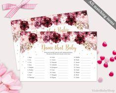 Marsala Name That Baby Game Template. Printable Floral Baby Shower Game. Burgundy Gold Bordo Pink Flower Modern Game. Instant Download PDF http://etsy.me/2CIGi3Y #papergoods #pink #babyshower #gold #marsala #namethatbaby #game #template #printable