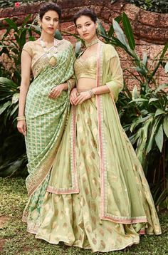Woven in rich silks and gold, we've entwined the colour of sage leaves with Benarasi Brocades this summer. Anita Dongre Wedding Couture, from our Songs of Summer Location: . Anarkali, Lehenga, Sabyasachi, Sharara, Manish, Anita Dongre, Indian Wedding Outfits, Indian Outfits, Indian Ethnic Wear