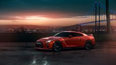 Download wallpaper GTR, Nissan, Red, Car, Sunset, R35, View, section nissan in resolution 1366x768