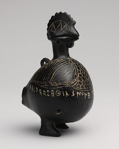 Etruscan Vase in the shape of a cock, second half of 7th century B.C. Etruscan Terracotta
