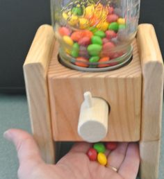 A Handmade Wood Candy Dispenser Makes a Christmas Candy, Christmas Crafts, Home Made Candy, Candy Dispenser, Gadget, Simple Machines, Gumball Machine, Jelly Beans, Wooden Toys