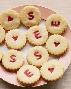 Shortbread rhubarb sandwich cookies. Use small alphabet cookie cutters to create monogrammed cookies for weddings or showers, or heart-shaped cookie cutters for Valentine's Day, or star-, Christmas tree- or snowflake-shaped cookie cutters for Christmas.