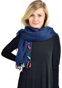 Ladylike Colorful Tassel Scarf Navy 16,90 € #happinessbtq