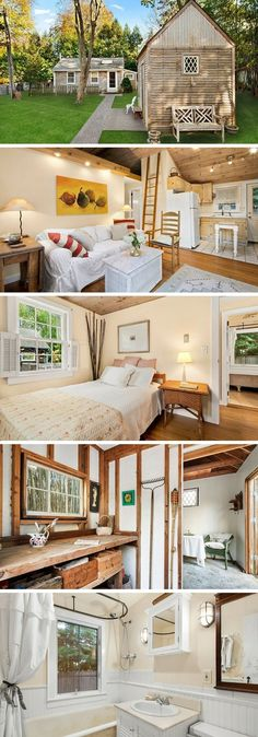 A 600 sq ft house in Sag Harbor, New York. What about the designs of this beautiful house? This is the best home designs ever. Tyni House, Tiny House Living, Tiny House Movement, Tiny House Nation, Tiny Spaces, Tiny House Design, Design Homes, Tiny House Plans, Small Space Living