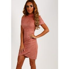 Alessandra Blush Pink Faux Suede Mini Dress