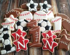 One Dozen (12) Sport Themed First Birthday Decorated Sugar Cookies