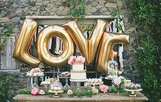 """Amazon.com: Love Letters 40"""" Inch Large Gold Foil Balloons - Wedding or Engagement Party Decoration. Great for photoshoots!"""