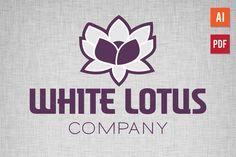 White Lotus Logo By Lucion Creative Logo Design Template, Logo Templates, Business Brochure, Business Card Logo, Lotus Logo, White Lotus, Creative Sketches, Pencil Illustration, Paint Markers