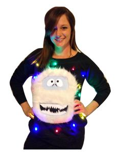Women's UGLY CHRISTMAS SWEATER - Abominable Snowman! - Light Up - Swoop Neck / Off The Shoulder  _____**Fast Shipping**_____