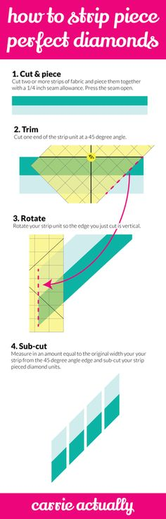 How to Strip Piece Perfect Diamonds for your quilt