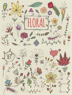 Hand Drawn Florals. Wedding Fonts