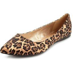 Stud-Back Leopard Satin Flat ($23) found on Polyvore