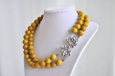 Mustard Yellow Necklace Double Stranded
