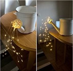 Today we have a beautiful outdoor DIY project to share with you. This glowing watering can with lights is so beautiful and SO easy to make! Pick a special spot in your garden or yard (maybe even your fairy garden) where you'd like to hang these glowing lights pouring from a watering can. It's gorgeous …