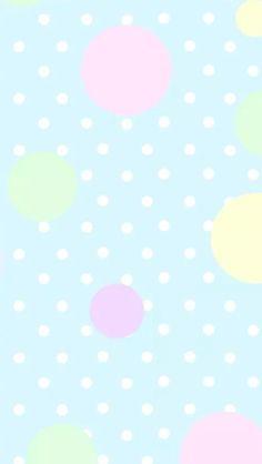 Pastel blue pink mint yellow polka dots spots iphone phone wallpaper background lock screen