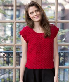 Shell Stitch Top - use RH Lustre Sheen (softness of cotton with the durability of acrylic)  ** EASY **