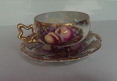 Vintage Peach Teacup and Saucer Set