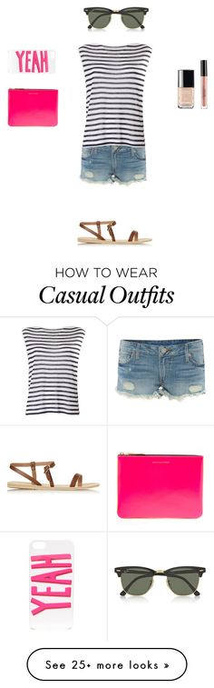 """Holiday Casual"" by mia-rc on Polyvore featuring True Religion, T By Alexander Wang, Comme des Garçons, Ancient Greek Sandals, Chanel, Stila, ban.do and Ray-Ban"