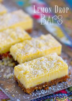 These Lemon Drop Bars are extra creamy and topped with candied lemon zest for the BIGGEST lemon flavor possible! So easy to make, deliciously sweet and tart, you'll find this treat hard to resist! // Mom On Timeout Lemon Dessert Recipes, Lemon Recipes, Desert Recipes, Sweet Recipes, Baking Recipes, Cookie Recipes, Mini Desserts, Easy Desserts, Delicious Desserts