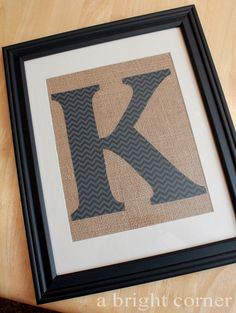 Framed burlap monogram tutorial - great idea for a personalized handmade gift!