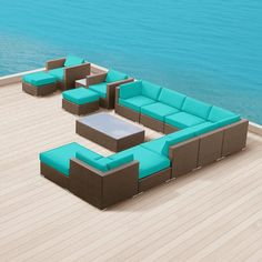 Modern Outdoor Patio Furniture Wicker Bella 15 PIECE TURQUOISE http://toshfurnituremodern.blogspot.com/2014/01/outdoor-patio-furniture-accesories.html #Patio_furniture #Outdoor_Furniture #Outdoor_Living  #Outdoor_ Furniture_Sets