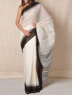 Ivory Kanchi-Cotton Saree - Tribal  Love it!