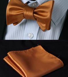 Elegantný hodvábny set - motýlik a vreckovka v medenej farbe