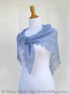 Hand knit lace shawl in light blue by Otruta - for outdoor winter wedding pictures