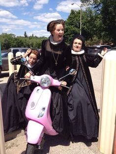 The Ladies of Angiers go for a quick spin. Stratford Festival, King John, Spin, Theatre, Costumes, Lady, Dress Up Clothes, Theatres, Fancy Dress