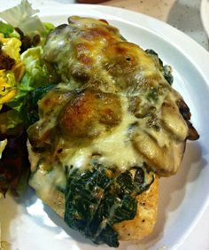 Creamed spinach and mushroom smothered chicken breast! YUM!