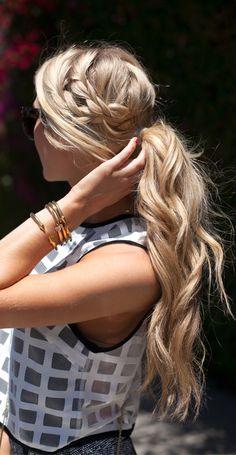 Braided wavy ponytail