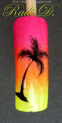 It`s all about nails: Step by Step Neon Gradient and Palm Tree