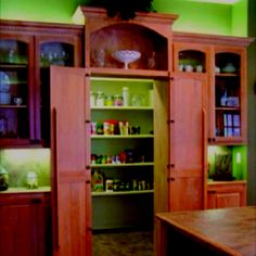 oh my God in Heaven.hidden walk-in pantry- if only i had room to do this in our house! maybe the next house? Hidden Pantry, Walk In Pantry, Pantry Doors, Cabinet Doors, Hidden Kitchen, Broom Cabinet, Hidden Closet, Cabinet Closet, Style At Home