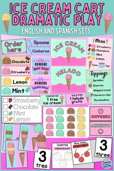 This printable packet turns your dramatic play area into an ice cream cart! With both English and Spanish sets, this kit will provide hands-on fun including counting and matching activities.