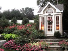 """HGTV fan MeadowsweetDays needed a place to store her gardening tools but also """"a pretty potting shed that would enhance the look of my garden."""" This charming structure seems to do the job."""