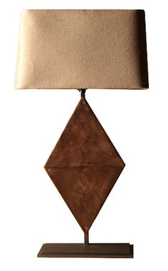 Iron with rusted patina. Patina will vary. Shade not included.,Triangle Table Lamp, Bobo Intriguing Objects, Lamp, Table