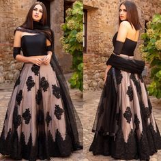 Black net designer embroidered stylist and gorgeous ceremonial lehenga - Fabric :Net lehnga with embroidery work ( semistitched )Inner : Satin silkNet duppataMatti shining blouse ( unstitched )Black net designer embroidered stylist and gorgeous ceremonial Long Gown Dress, Lehnga Dress, The Dress, Strapless Dress Formal, Formal Dresses, Saree Gown, Indian Gowns Dresses, Pakistani Dresses, Net Dresses