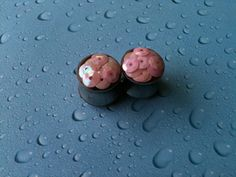 "1/2"" Stainless Steel Pink Sequin Resin Plugs. $24.00, via Etsy."