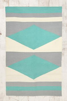 Turquoise Mirror Diamond 3x5 Rug at Urban Outfitters