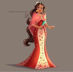 Disney Princesses x : Elena . Elena wears a Maria Clara Dress with floral em… Princesas Disney x: Elena. Disney Princess Fashion, Disney Princess Art, Disney Fan Art, Disney Style, Disney Love, Disney Princesses, Princess Cakes, Princess Outfits, Filipino Art