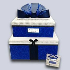 Royal Blue Wedding Card Box,2 tiers,silver,custom,personalized,holds 80 cards | eBay Halloween Wedding Decorations, Country Wedding Decorations, Country Weddings, Graduation Card Boxes, Card Box Wedding, Gift Table, Blue Weddings, Bat Mitzvah, Royal Blue